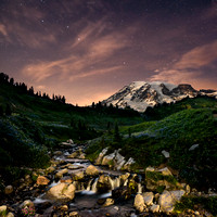 Myrtle Falls, Mt. Rainier, and the Big Dipper